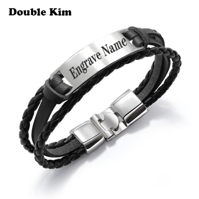 Customized Men's Engrave Braided Leather Bracelet Stainless Steel Material DIY Engrave Word Bracelet Fashion Customized Jewelry