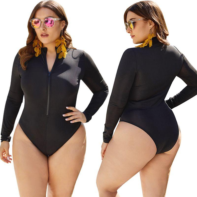 Abiti Large Size maniche lunghe donne Costumi da bagno più nuovi Patchwork Plus Size costume da bagno Protezione solare Abbigliamento Sexy Beach Surf