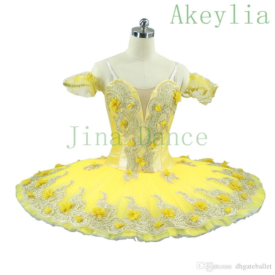 Adult Gold Yellow Flower Fairy Classical Ballet tutu Professional Woman Girls Stage Costumes Canary Fairy Tutu Yellow Ballet Dance Performan