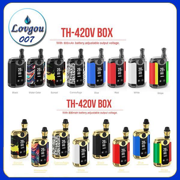 Kangvape TH-420 V 박스 키트 800mAh 20W 가변 전압 와트 예열 VV 배터리 모드 0.5ml 두꺼운 오일 테이프 카트리지 원래