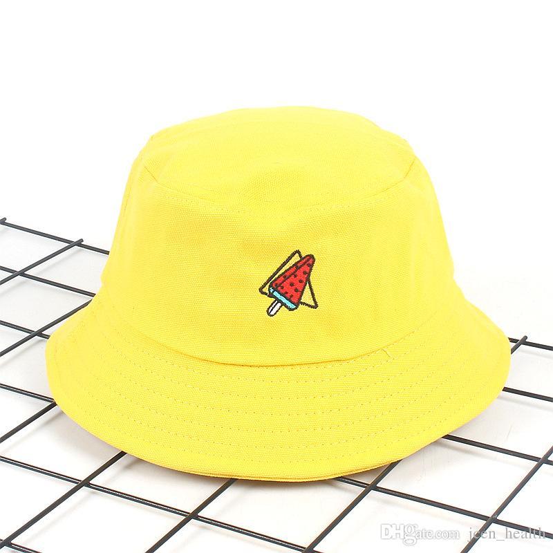 새로운 유니섹스 태양 모자 여성 여름 양동이 모자 남자 노란 수 놓은 Sunbonnet 모자 야외 어부 모자 바이저 분지 모자