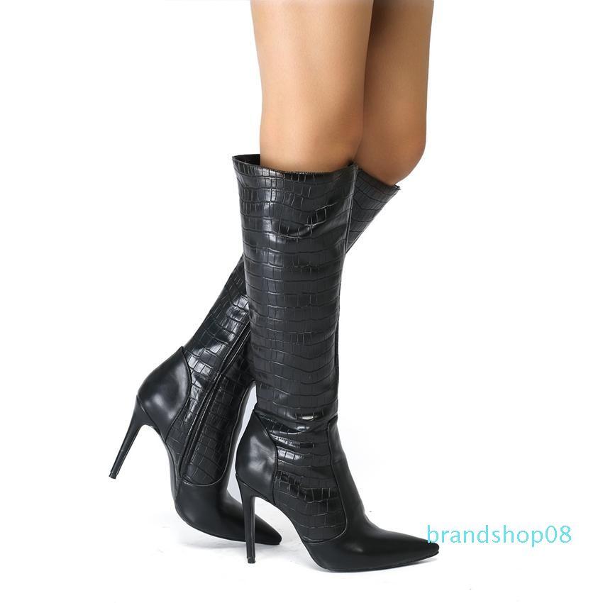 Vente-2019 Hot New plus Big 35-45 Zip Noir Mode sexy genou talon haut Automne Printemps Fille Dames féminines Femmes Bottes X1785