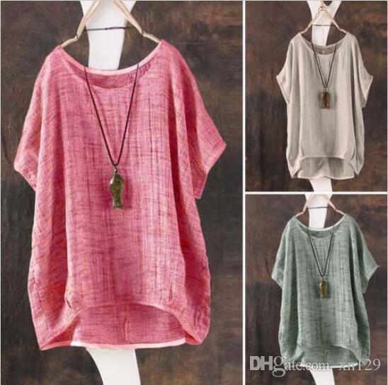 Mulheres Verão T-Shirt Casual Blusa Solta Camisa Blusa Batwing Tops Assimétricos