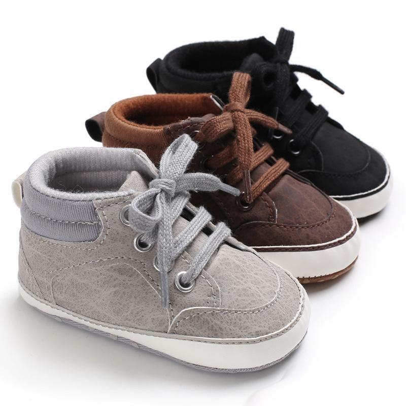 Baby Boys pu Zapatillas de deporte bebés moda color sólido con cordones zapatos deportivos casuales moda primavera otoño sofe suela primeros caminantes