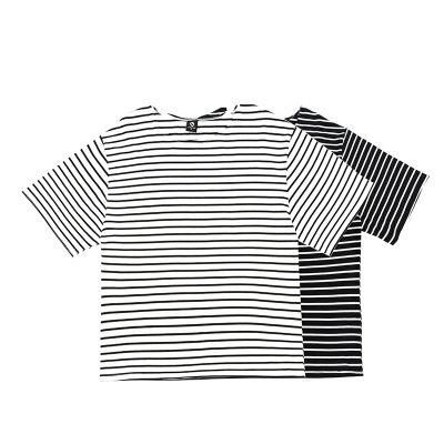 Hip Hop para hombre Casual calle camiseta rayada respirable cortos Camiseta de cuello redondo Ins Moda Hombre Ropa