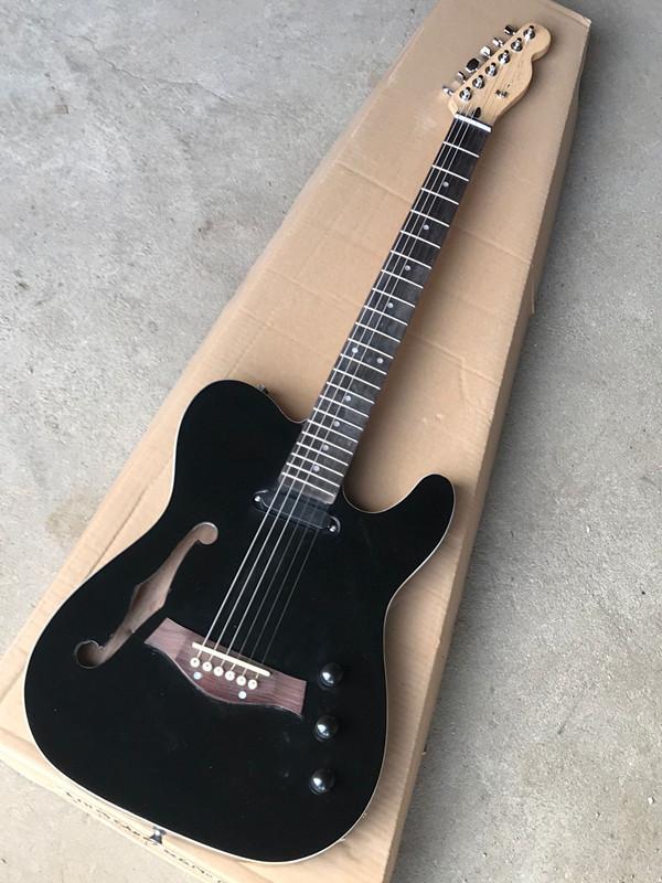 Yeni Varış! Akustik gitar alma, yarı içi boş gövdeli, gülağacı finoneBoard ile siyah vücut elektro gitar, özelleştirilmiş teklif.