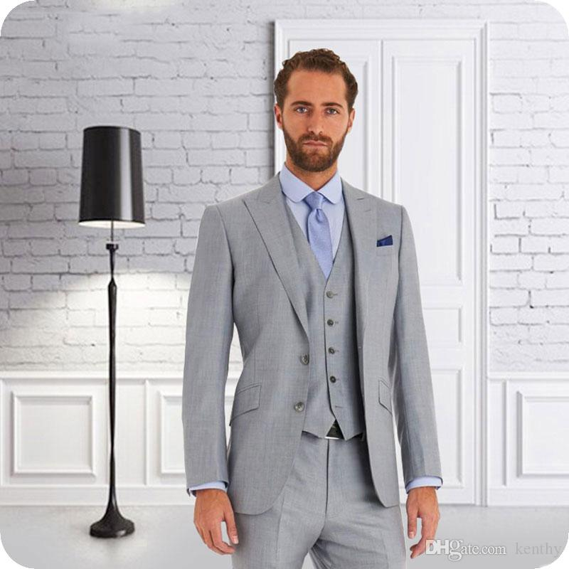 Peaked 2019 mariage Lapel hommes costumes gris Groom Tuxedo Custom Made Man Blazer Costume Groomsmen 3piece Dernières Pantalon Manteau Costume Homme Designs