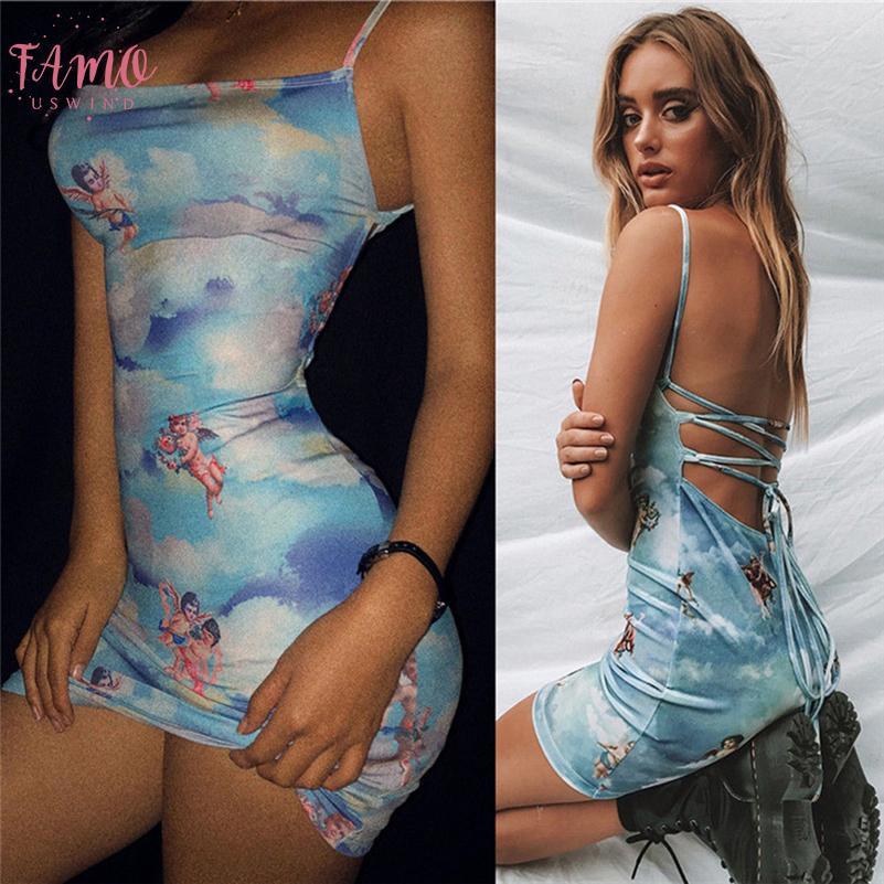 2020 등이없는 여름 드레스 크로스 여성 복장 큐피드 묶여 숙녀 섹시한 드레스 패션 짧은 미니 Clubwear S의 L 인쇄하기