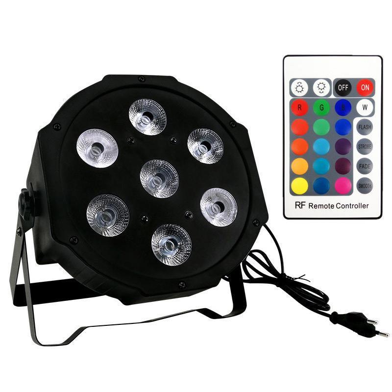 جهاز التحكم عن بعد اللاسلكي LED ميني قدم ضوء 7x12W DMX RGBW 4IN1 رباعية الصمام المسطحة المسبقة يمكن أن الإضاءة المرحلة