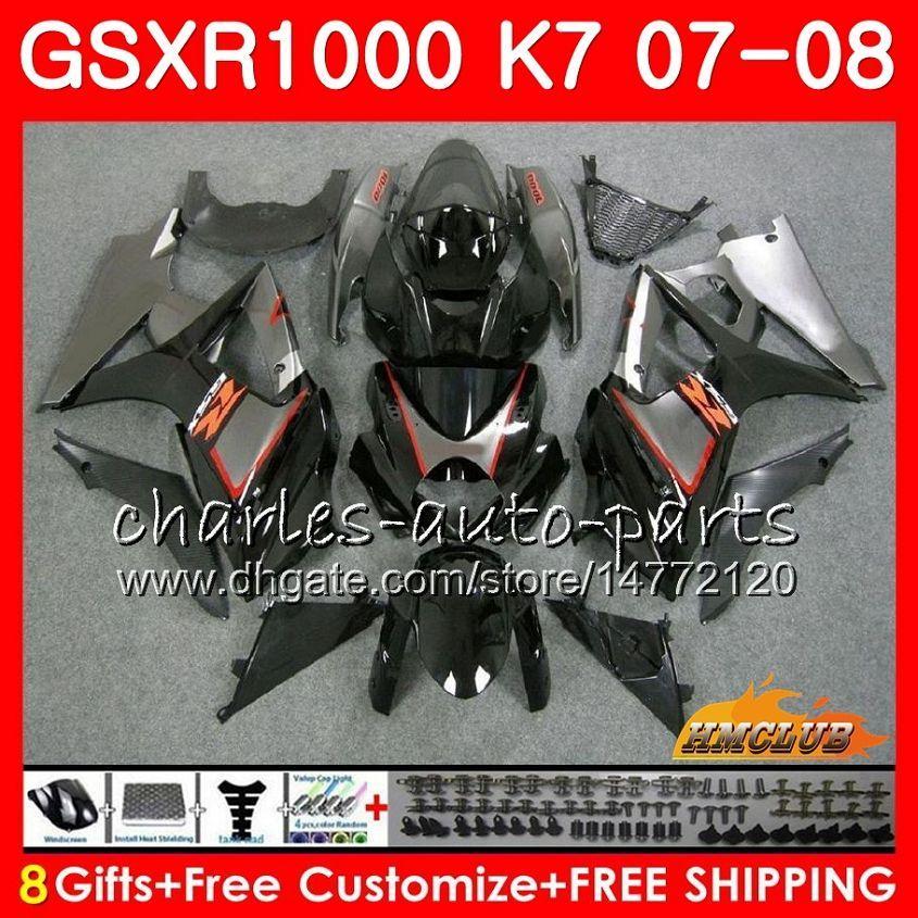 鈴木GSXR-1000 GSXR1000 2007 2008 07 08ボディ12HC.32 GSX R1000 GSX-R1000 K7 GSXR 1000 07 08 ABSフェアリングブラックファクトリーキット