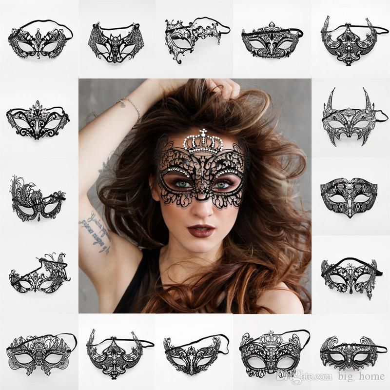 Maschere da festa veneziane da donna di moda in metallo nero tagliato a laser vestito da costume XMAS Mostra maschera da ballo in maschera mezza maschera LJJ_TA1593