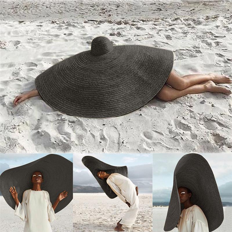 Frau Mode Große Sonnenhut Strand Strohhut Faltbare Strohkappe Abdeckung Übergroßer zusammenklappbarer Sonnenschirm Strand Anti-UV