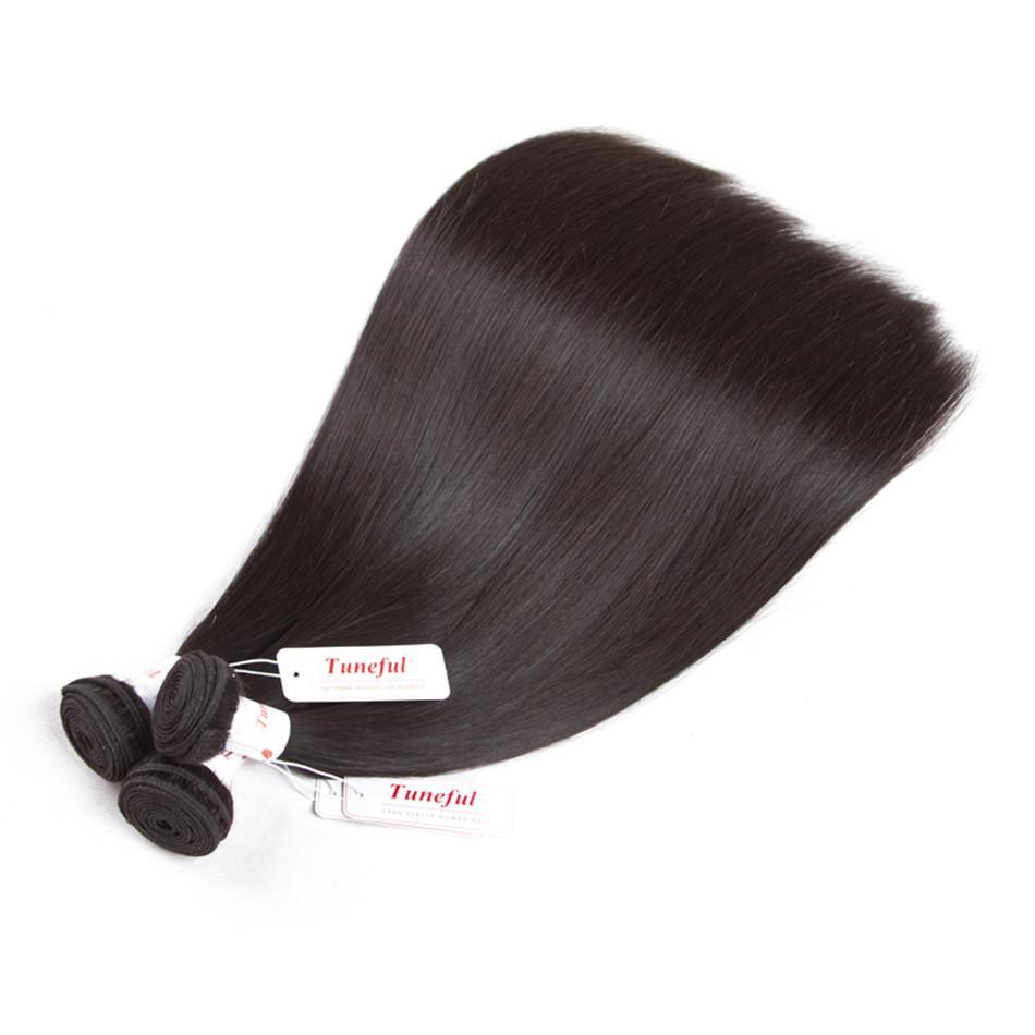 Capelli 2 pacchi brasiliani capelli lisci Bundle con chiusura Pre pizzico 13 * 4 orecchio a orecchio Pizzo frontale Chiusura con fasci