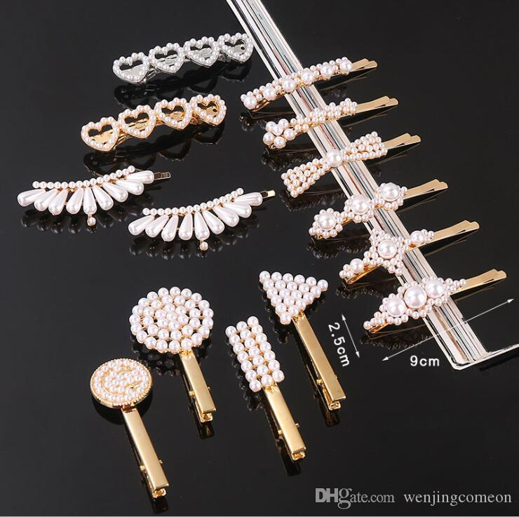 Fashion Women Girls Pearl Metal Hair Clip Barrette Stick Hairpin Bobby Jewelry Styling Tools Hair Accessories