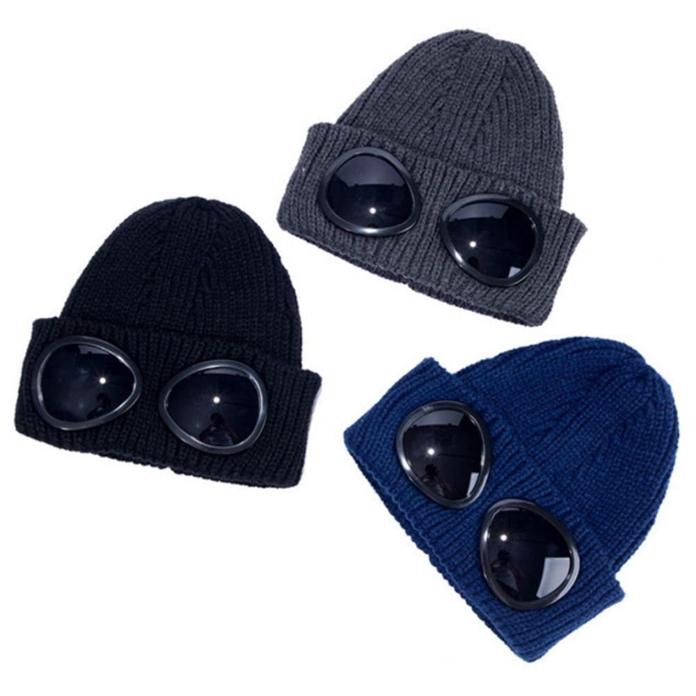 Pilot Gläser Solide Mütze Winterhüte für Männer Frauen Damen Männliche Schädelkappe Gestrickte Hip Hop Harajuku Casual Ski Skillies Outdoor Weihnachten