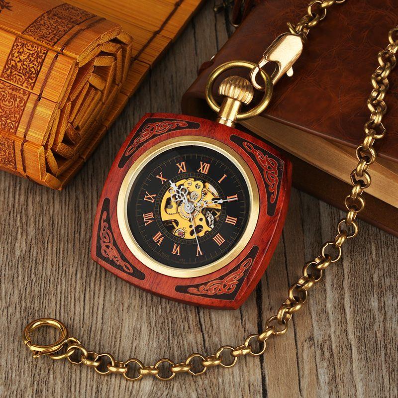 خمر التلقائي الملكي الأحمر الخيزران مربع الرجال الجيب ووتش الخشب الجيب ووتش ريترو الهدايا العتيقة للنساء reloj دي bolsillo