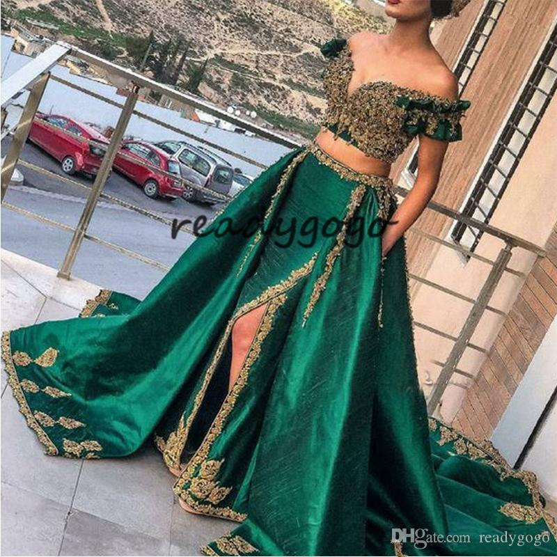 Indian hunter Green 2 Piece Evening Dresses with Gold Lace Applique Prom Gowns Sexy Saudi Arabic Beaded Kaftan abaya Wear