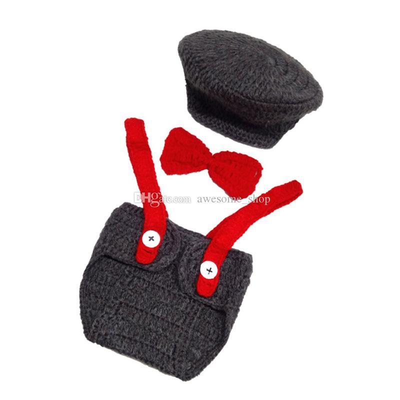 Newborn Grey Newsboy Outfits,Handmade Crochet Baby Boy Newsboy Hat,Diaper Cover,Bow Tie Set,Little Man Suit,Infant Photo Prop,Shower Gift