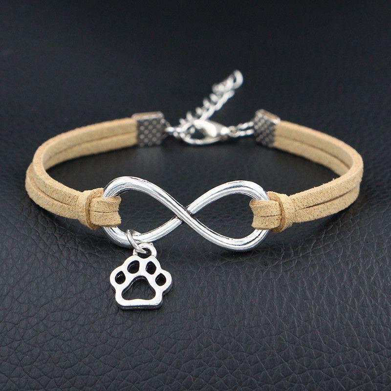 Beige Leather Suede Cuff Bracelet Bangles Charm Bohemian Infinity Love Cute Mini Dog Paw Prints Wrap Jewelry Female Party Gift For Women Men