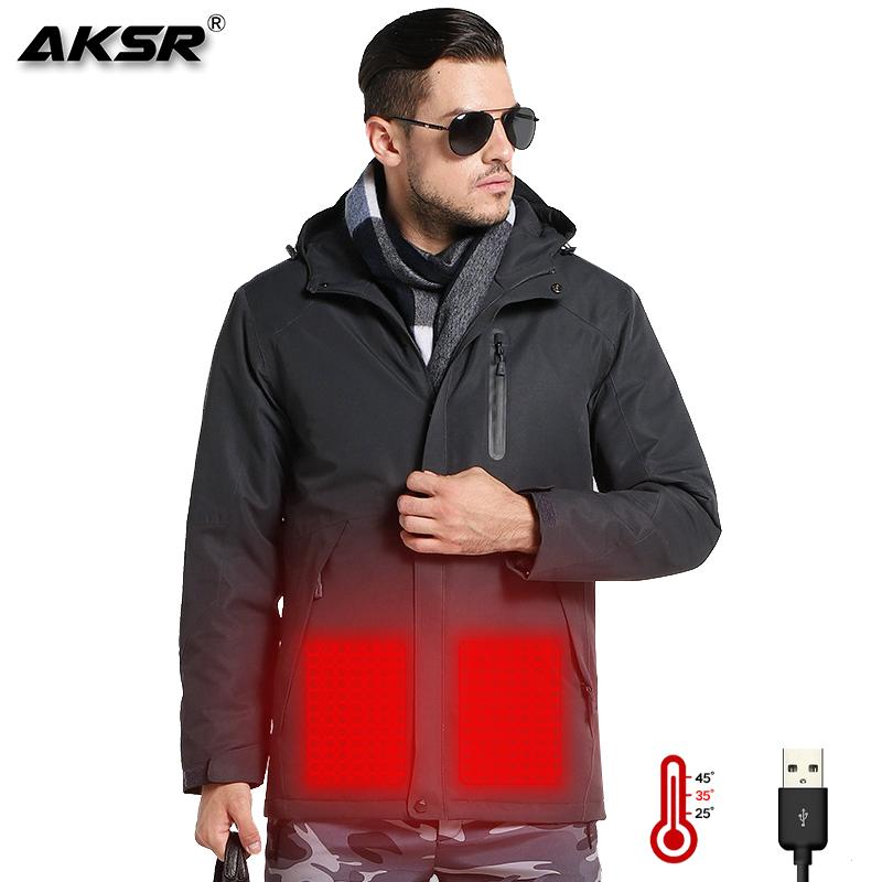 AKSR Men Women Winter Heated Jacket USB Heating Jackets Rain Jacket Men Waterproof Windbreaker Fishing Suits Hiking camping Coat