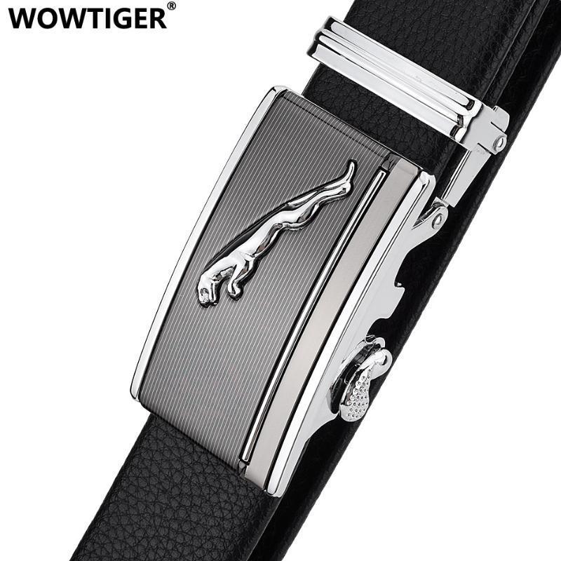 WOWTIGER leopardo hebilla automática 3.5cm ancho de los cinturones de ropa de cuero de resistencia al rayado de la correa diseñador de los hombres