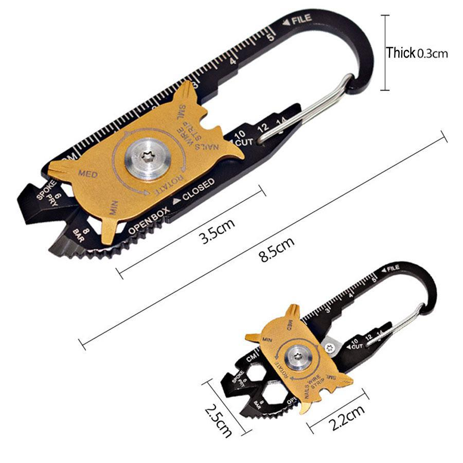 Garrafa atacado abridores Régua Keychain 20 em 1 multi-função Anéis combinação de teclas Tools Outdoor portátil chaves de fenda BH0665 TQQ