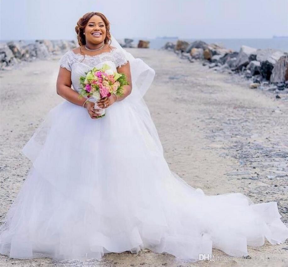 Plus Size BeiJing Big Women Sheer Neck Sweep Train Beach Wedding Dress with Short Sleeves Syrian Wedding Dresses
