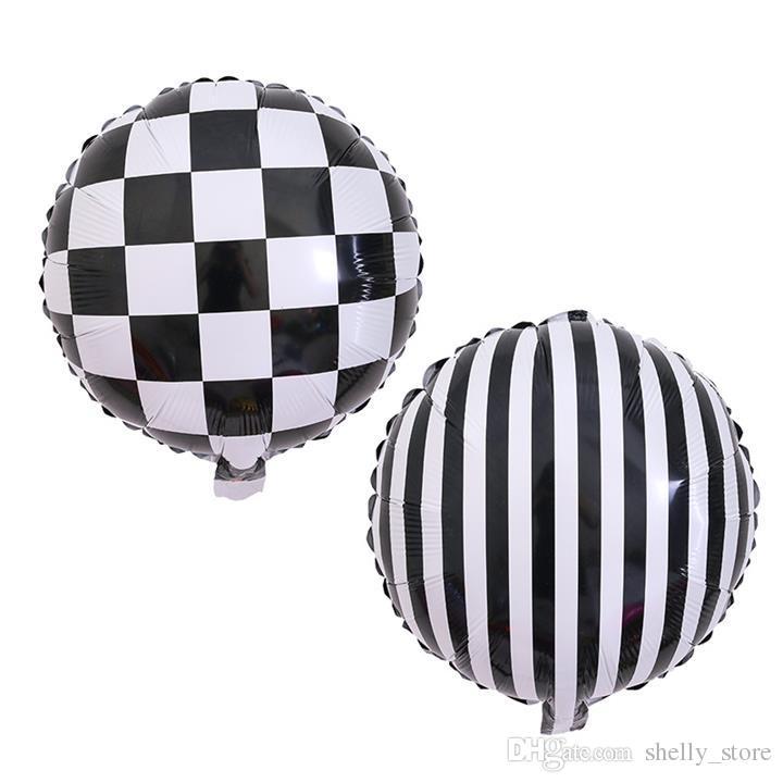 18-дюймовый черно-белый клетчатый Полосатый алюминиевый шар свадебные украшения День рождения Бар КТВ Компоновка Фольга Воздушные шары оптом