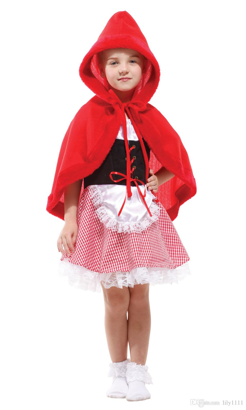 Shanghai Story Little Red Riding Hood Costume For Girls Christmas costumes For Red cloak Children Fancy For Kids Carnival Masquerade Costume