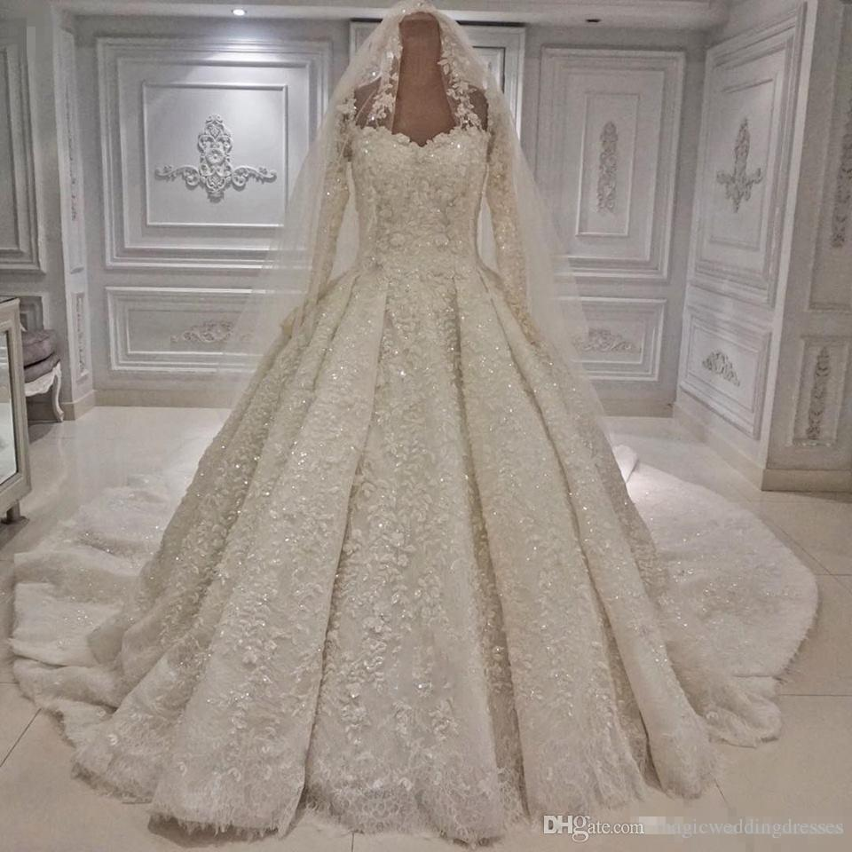 Dubai Arabic Style Ball Gown White Wedding Dresses Luxury Beaded Appliqued Sheer Long Sleeves Bride Formal Church Wedding Gowns with Veil