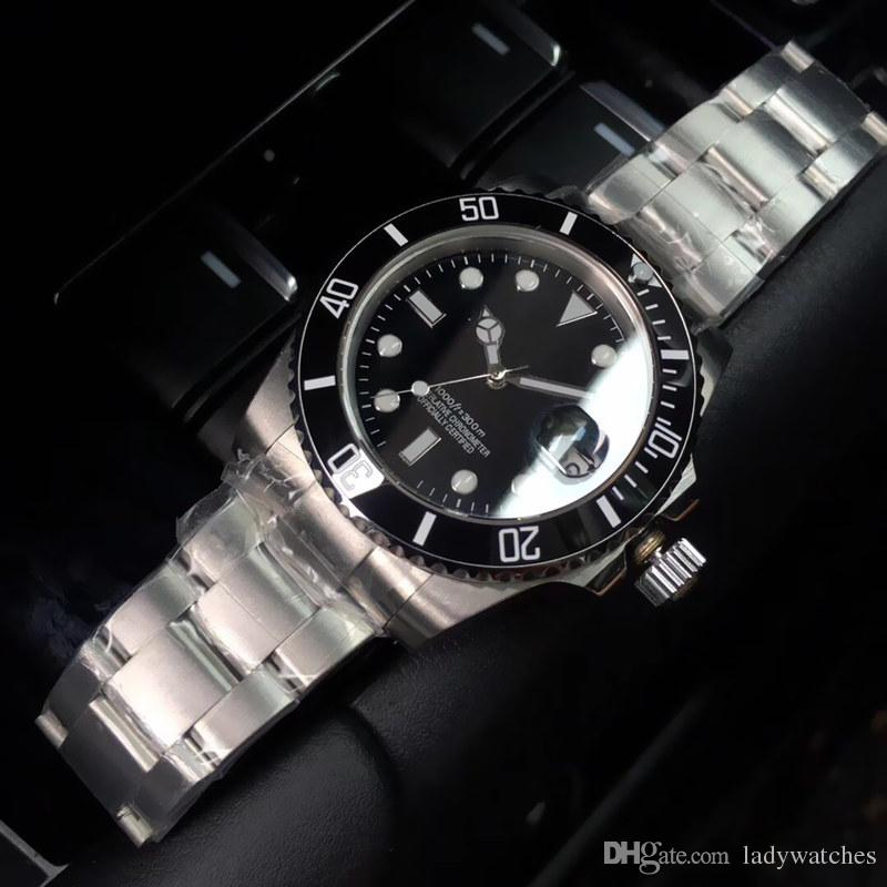 Luxury Mens watch 8215 automatic mechanical movement Auto date N factory plastic sleeve Sapphire glass mirror Three beads steel belt 40mm