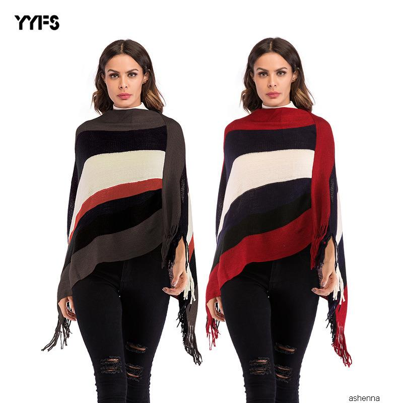 maglione da donna progettista di corrispondenza dei colori a strisce nappa mantello scialle allentato pullover sweaterLL2F DS0R