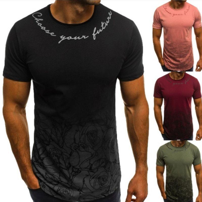 Gradyan Renk Erkek Tasarımcı tişörtleri Harf Baskılı Casual Gevşek Kısa Sleeve Mürettebat Boyun Kazak Tshirts Moda Erkek Tees