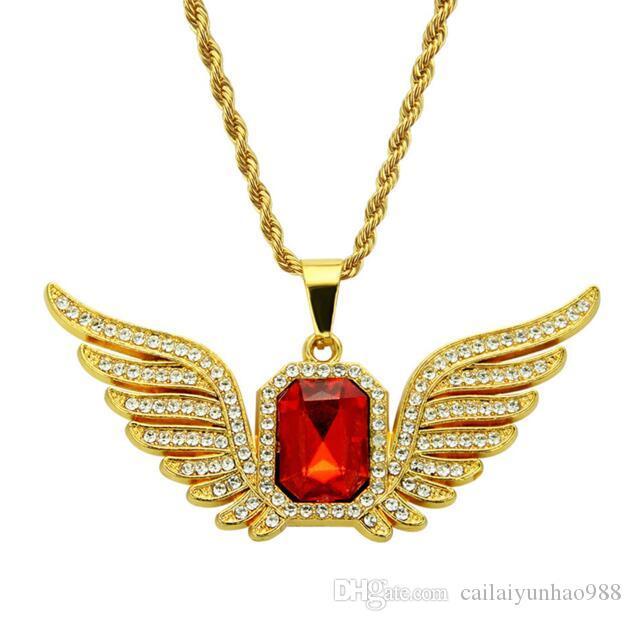 Banhados a ouro 14K asas Hip-hop diamante ornamentos colar de hiphop homens rubi rectangular