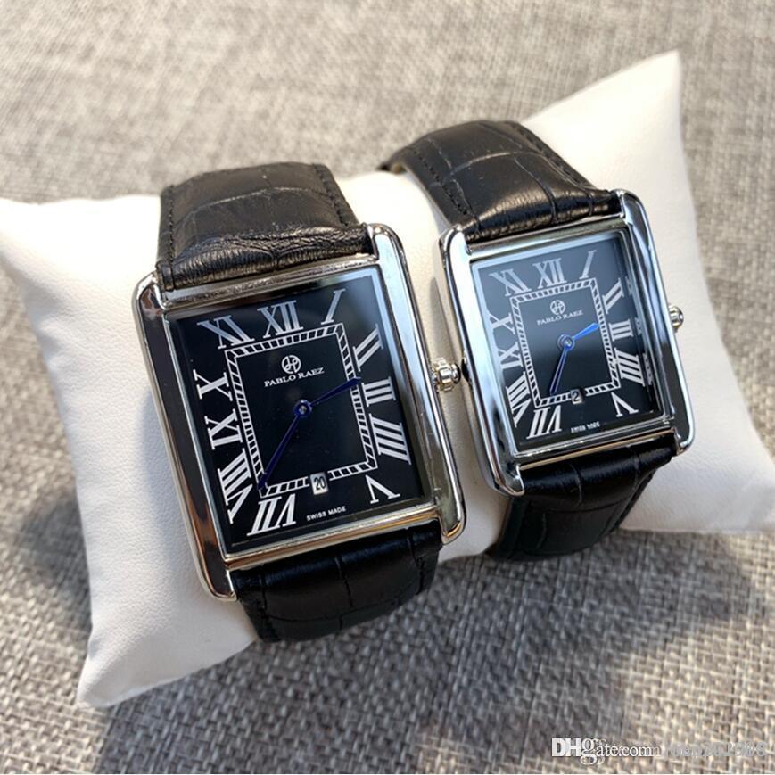 Top qualidade PABLO Ráez Moda Rose homens de ouro senhoras 40mm 34 milímetros vida de quartzo impermeável Pares ocasionais relógios relógios de luxo de aço inoxidável dom
