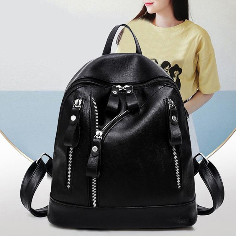 المرأة بو الجلود حقيبة الظهر سستة حقيبة المدرسة السفر الظهر حقيبة سوداء سوداء عارضة الكتب