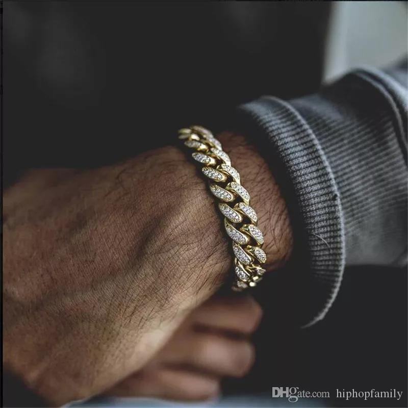 Mens Hip Hop Bling Gold Bracelets Diamond Bracelets Jewelry Iced Out Miami Cuban Link Chain Bracelet