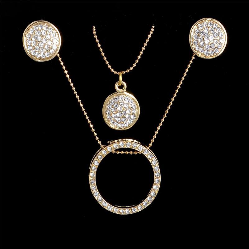 Fashion Clear Austria Cristal Conjuntos de Joyas Para Las Mujeres Pendientes de Gota y Collar de Cadena de Múltiples Capas de Oro WholesaleWedding Joyería