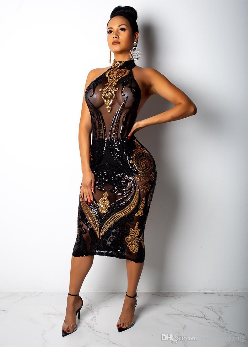 Women Designer Sequined Dress Black Evening Halter Sexy See Through Dresses Bodycon Dress