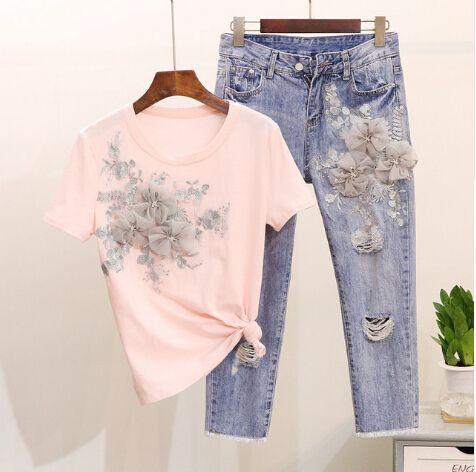 Trabajo pesado Bordado Flor Tshirts + Jeans Mujeres Verano 2pcs Trajes de moda Vogue conjuntos de moda europeos con estilo