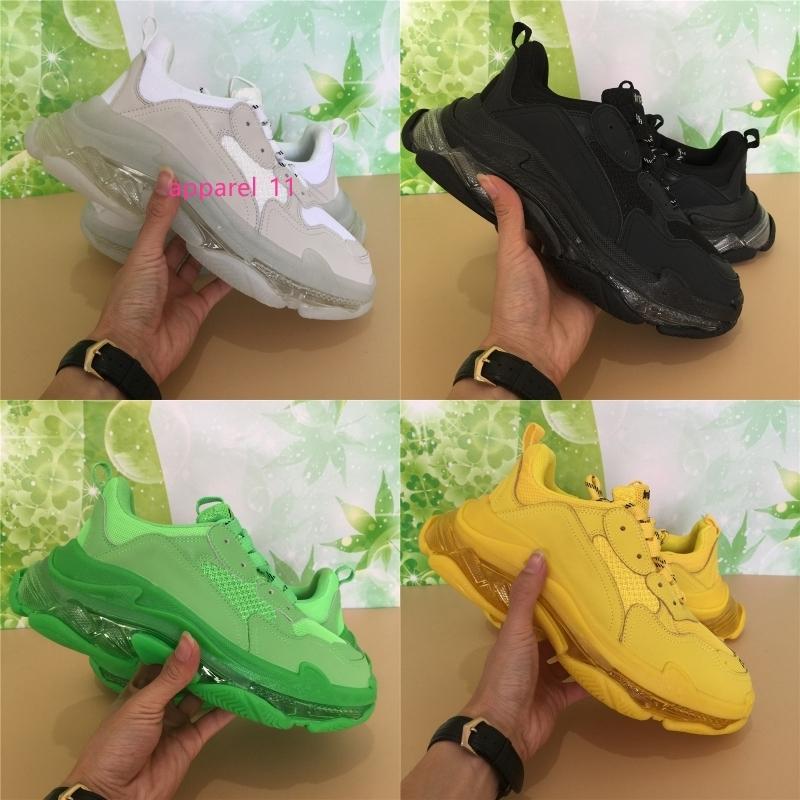 Luxo cristal Sole Triplo Sneakers para homens Mulheres Triplo Verde Amarelo Branco Preto Plataforma Couro Calçados Moda Designer de sapatos de luxo