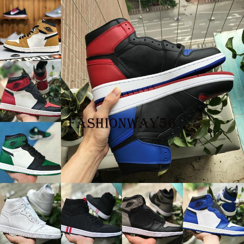 Hot 2019 High 1 OG TOP 3 Banned Bred Royal Blue Mid Hare Hommes Femmes Chaussures de basket-ball Retroes Red Toe Shoe Sh