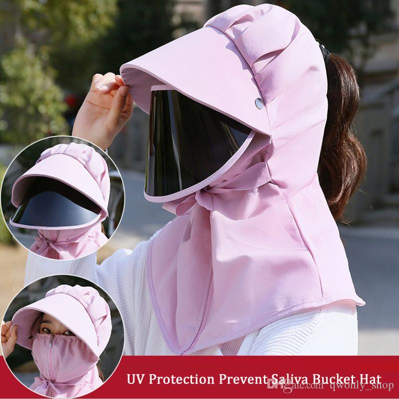 Prevent Saliva Mouth Mask Hat Multi-function Dustproof UV Protection Face Neck Cover Cap Parent-child Summer Sunscreenn Outdoor Hats 5Colors