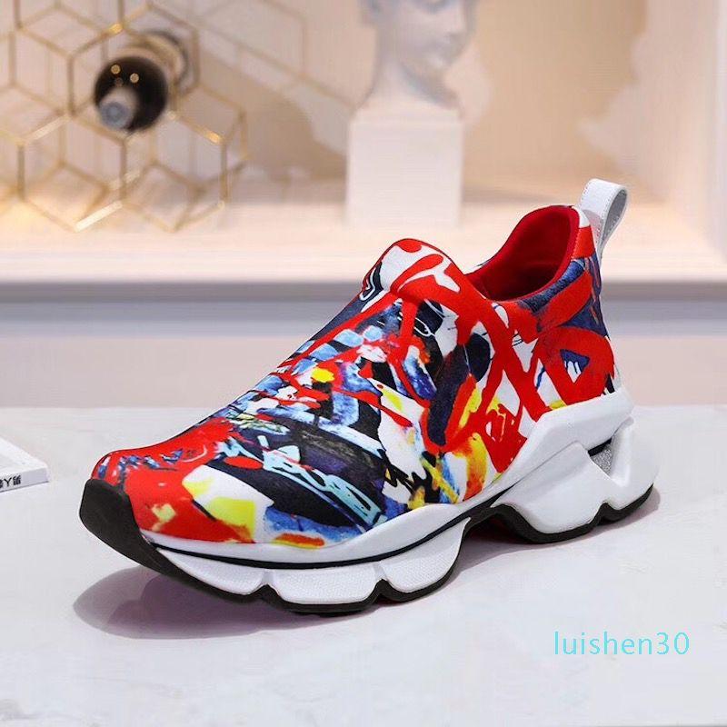 2019 Tasarımcı Ayakkabı Spike Çorap Erkekler Sneakers platformu Kırmızı Donna Düz lastik Bayan Kırmızı Alt başak Lüks Ayakkabı Düz eğitmenler 16 renk L30