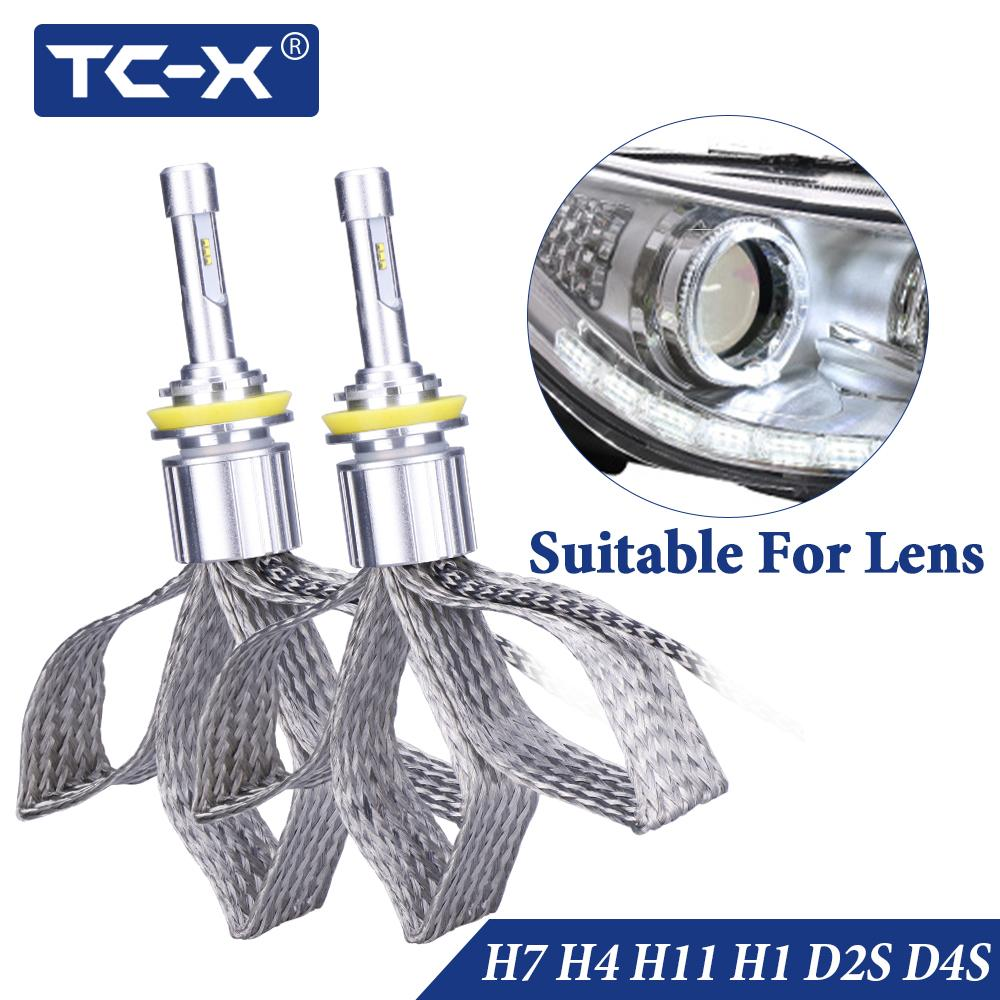 TC-X D2S H7 H11 led lamp light H1 H3 Headlight for car 12v ice ptf D2S D4S diode lamps with Luxeon ZES chip bulbs autos products