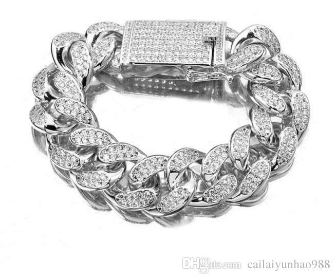 Diamantes cubanos reais 12mm Hip Hop da água do bracelete da relação de Miami dos homens da prata do sólido 925