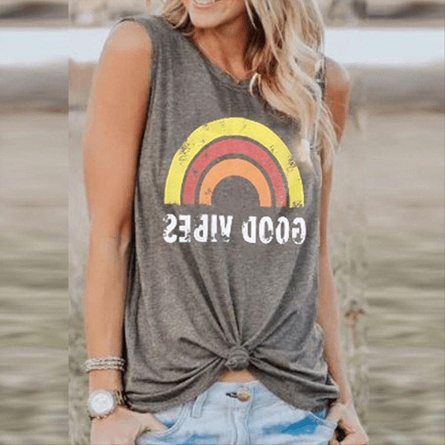 Rainbow letra impresa camiseta de las mujeres del arco iris BUENAS carta camiseta impresa BUENAS de las mujeres