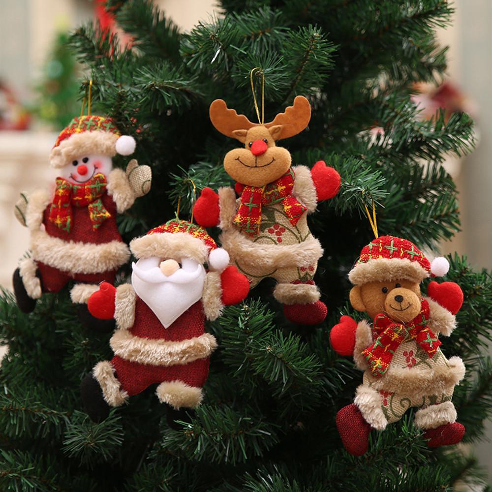 4 piezas decoraciones para árboles de Navidad para el hogar muñeco de nieve de Santa Claus adornos navideños suministros colgante niños regalos de Navidad Navidad Q3