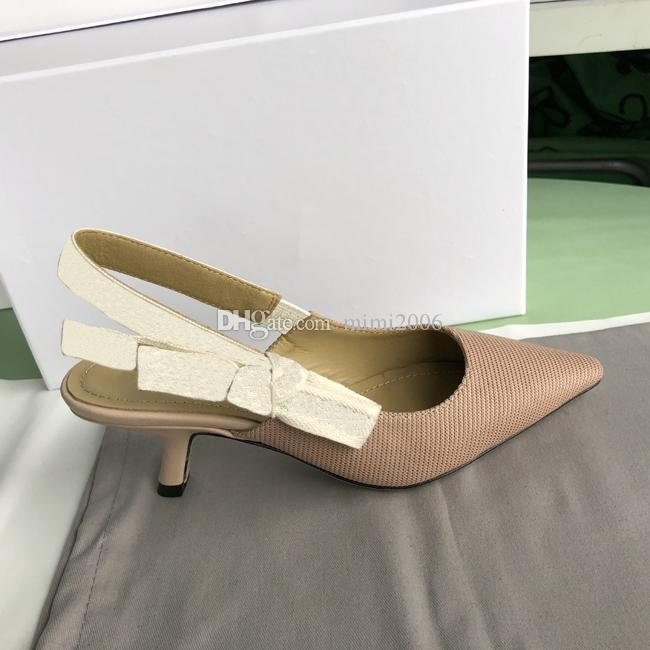 Nude Letter Bow Knot High Heel Shoes Women Runway Pointed Toe Low Heel Shoes Woman Gladiaor Sandals Lady Brand Design Mesh Flat Shoes 9.5CM
