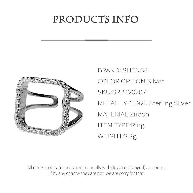 Elegant Quality 925 Rings Adjustable Fashion Geometry Zircon Ring 925 Sterling Silver Ring for Women